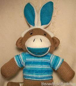 """FOR BOY GIRL EASTER BASKET Bunny w Blue Ear SOCK MONKEY 13"""""""