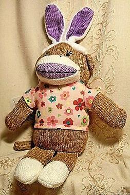 """Dan Dee Boy Girl Sock Monkey Easter Bunny Ears Plush Toy 13"""""""