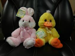 Brand New Happy Spring/Easter Pink BUNNY and Yellow Duck Kel