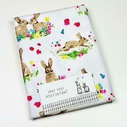Hip Hop Bright Easter Bunny Rabbits Spring Flowers Tableclot
