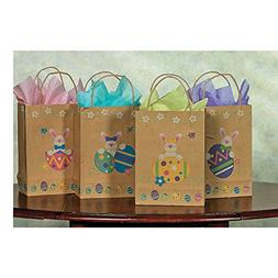 "Brown Paper Printed Easter Bunny & Eggs Gift Bags  6 1/2"" X"