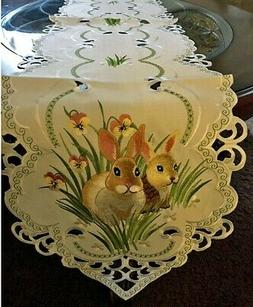 """Bunny Floral Spring & Easter Table Runner  67""""x13"""" Embroider"""