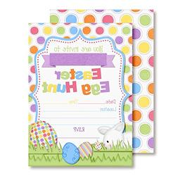 "Bunny Hunting Easter Eggs Party Invitations, 20 5""x7"" Fill i"
