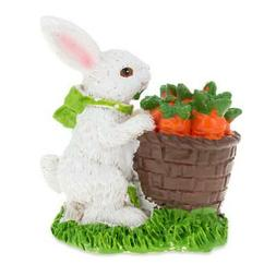 Bunny with Easter Basket Full of Carrots 3 Inches