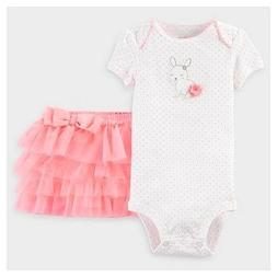 Carters Infant Girl Easter Bunny Pink Tutu Skirt Bodysuit Ba