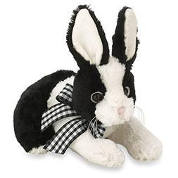 Bearington Checked Black and White Plush Stuffed Animal Bunn