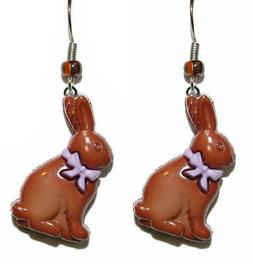 CHOCOLATE BROWN EASTER BUNNY PIERCED DANGLE EARRINGS