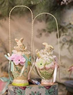 Victorian Trading Co 1 Paper Mache Easter Bunny in Baskets 2