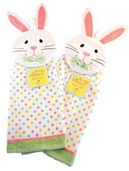 Spring Holiday 100% Cotton Hanging Kitchen Tie Towels - Set