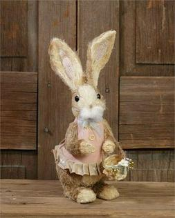 Country Primitive Farmhouse Girl Sisal Easter Bunny With Bas