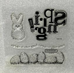 CTMH MY PEEPS Easter Bunny Eggs Spring Clear Rubber Stamps S