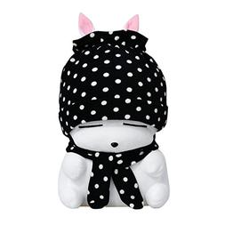 Cuddly Soft Stuffed Animal Toy Easter Rabbit Black Polka Dot