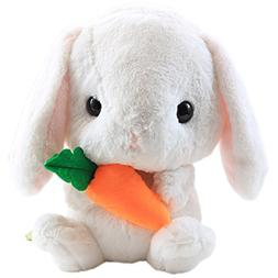 "9"" Cuddly Soft Stuffed Animal Toy Easter Rabbit White Carrot"