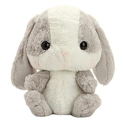 Cuddly Soft Stuffed Animal Toy Easter Rabbit Gray White Bunn