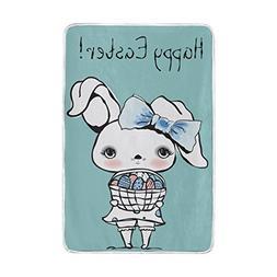 ColourLife Cute Easter Bunny Girl Queen Soft Throw Cozy Warm