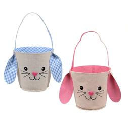CUTE Flexible Easter Bunny Shaped Canvas Basket with Face an