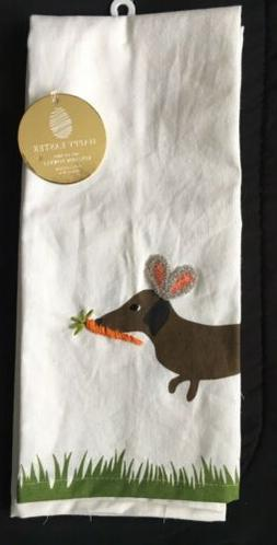 Dachshund Easter Bunny Kitchen Towels Set Of TWO NEW Brown D
