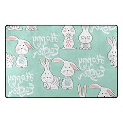 "ALAZA My Daily Happy Easter Bunny Rabbit Area Rug 3'3"" x 5',"