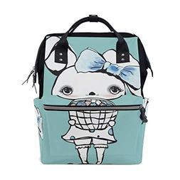ColourLife Diaper Bag Backpack Cute Easter Bunny Girl Casual