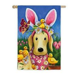 Dog Easter Bunny Ears Flag 2 Sided House Banner Decorative C