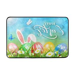 Easter with Ears of Bunny and Butterflies Doormat Entrance R
