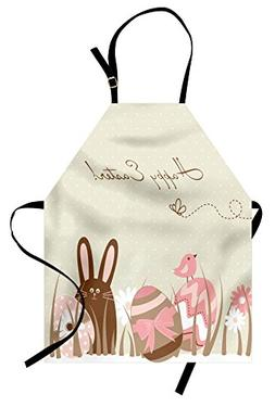 Ambesonne Easter Apron, Pastel Toned Eggs Birds and Bunny on