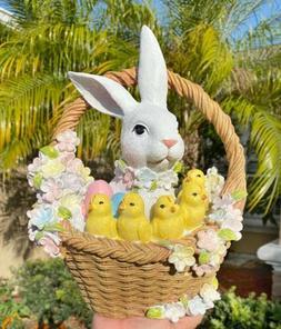 Easter Basket Bunny Rabbit Spring Chickens Eggs Figurine Hom