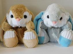 Easter Bunnies Stuffed Plush Bunny TWO Gray & Tan