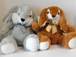 Easter Bunnies Stuffed Plush Bunny TWO Gray & Brown