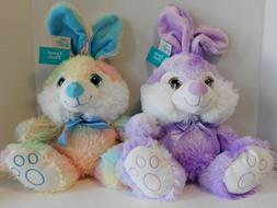 Easter Bunnies Stuffed Plush Bunny TWO Rainbow & Purple