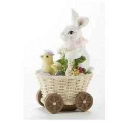 Easter Bunny and Chick in Buggy Figurine 3.5 X 6.3 Inch New