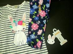 Gymboree EASTER BUNNY Baby Girls 3 PC Top Capri HAIR SNAPS
