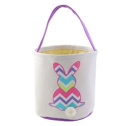 Easter Bunny Basket Bags for Kids Hand-Embroidered Wavy Rabb