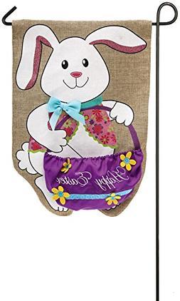 Evergreen Flag Easter Bunny & Basket Burlap Garden Flag, 12.