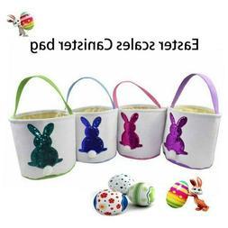 Easter Bunny Basket Kids Treat Bag Burlap Dual Layer Egg Can