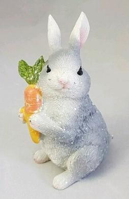 """Easter Bunny Carrot Figurine 3.5"""" Resin Easter Spring Decor"""