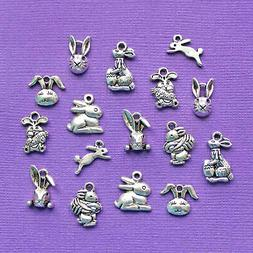 Easter Bunny Charm Collection Antique Silver Tone 16 Charms