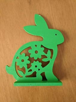 Easter Bunny decor - Green wood Bunny FREE SHIPPING