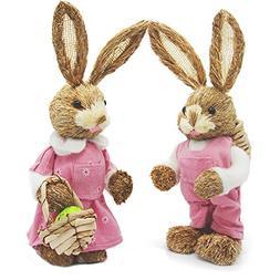 "Soobuy Easter Bunny Decorations, 13"" Natural Sisal Rabbits w"