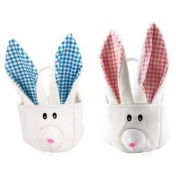 Easter Bunny Ear Gift Bag Egg Basket Cotton Plush Pink and B