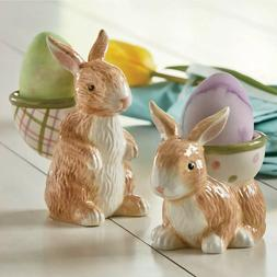Easter Bunny Egg Cups Set of 2 Ceramic Figurines with Egg Ba