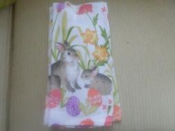 Easter Bunny Eggs and Flowers Cotton Kitchen Hand Towel New