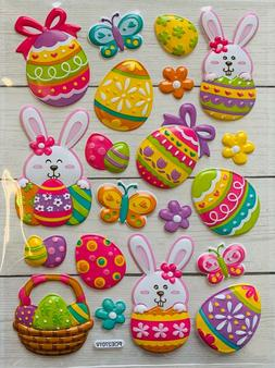 Easter Bunny Eggs Puffy Stickers Planner Papercraft DIY Craf