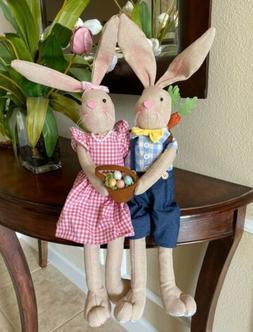 Easter Bunny Eggs Rabbit Shelf Sitter Doll Mantel Spring Bun
