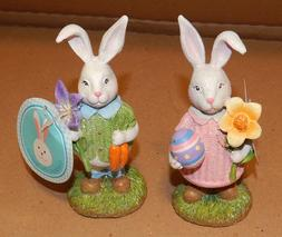 "Easter Bunny Figurines Resin Table Decor 6"" Mom & Dad Rabbit"