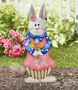 Easter Bunny Garden Stake - Spring Holiday Yard Decor - Girl