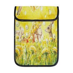 ALAZA Easter Bunny Girl Flower Yellow 12 12.9 inch iPad Pro