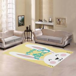 Easter Bunny Happy East Rectangle Area Rug Home Decor Floor
