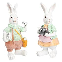 Juvale Easter Bunny Home Decorations - Set of 2 Easter Bunny