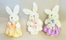 "Easter Bunny Ornament Plush Set 3  4.5"" Pink Purple Hanging"